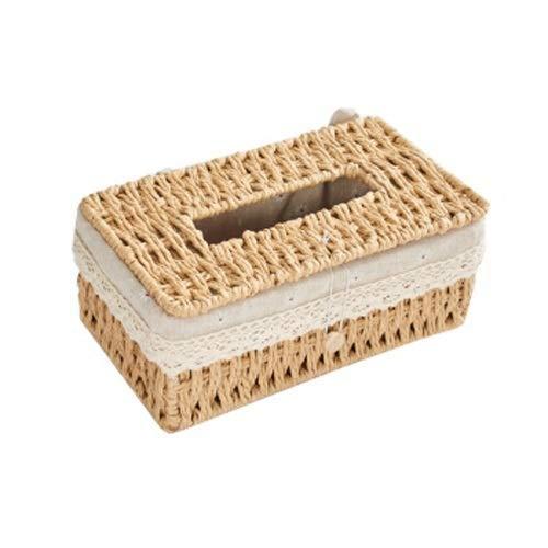 Caja de cajón tejida, caja de pañuelos hecha a mano de ratán, caja de servilletas de mesa, caja de almacenamiento japonesa, caja de almacenamiento de escritorio simple, forro de lino de algodón, desmo