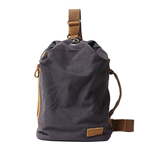 Neuleben Vintage Sling Rucksack Schulterrucksack Canvas Daypack Brusttasche Retro Schultertasche Klein Damen Herren für Reise Outdoor Sport Freizeit (Dunkelgrau)