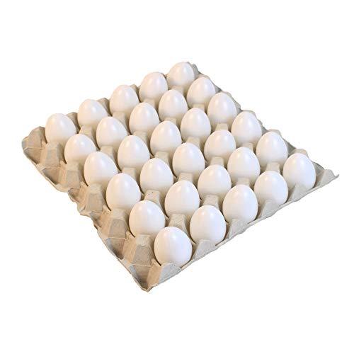 BODA Creative Plastikei mit Loch, H 6 cm, Bastelei, Kunststoffei, Osterei, weiß, Inhalt: 30 Stück, inklusive Eierpalette