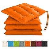 Gräfenstayn® Juego de 4 Cojines 40x40x3cm con Correas de sujeción para Interior y Exterior con Junta Oeko-Tex - (Naranja)
