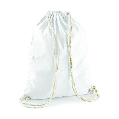 2Store24 Sacs de Sport Gymnastique Sac de Coton Gym Bag en Blanc