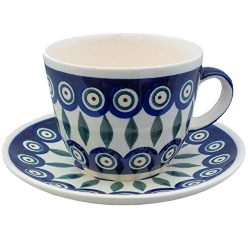 Polnische Keramik Teetasse, Kaffeetasse mit Untertasse | Traditionelle Keramik aus Boleslawiec | Bunzlauer Keramik | Originalartikel Handgefertigt in Polen | 200 ml Fassungsvermögen