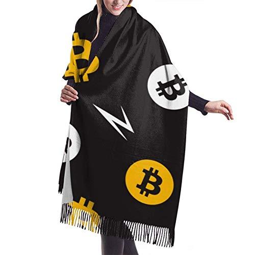 shenguang Bufanda de invierno de cachemira para mujer Abrigo clido y acogedor Mantn de gran tamao Capa 27x77 pulgadas, Patrn de Bitcoin
