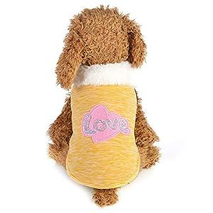 YUnnuopromi Amour Paillettes Chaud Coton pour Animal Domestique Chien Chat Vêtements d'hiver Vêtements Tenues Taille XS S M L XL