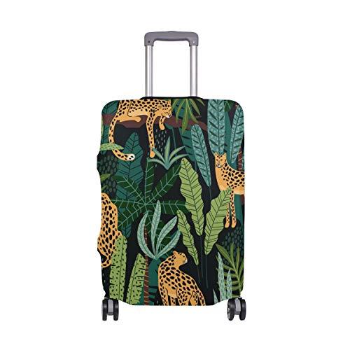 Orediy - Funda elástica para Equipaje de Viaje, diseño de Leopardo en Hojas de Selva con Ruedas, Protector de Maleta (sin Maleta), Talla S, M, L, XL, Multicolor (Multicolor) - suitcasecover