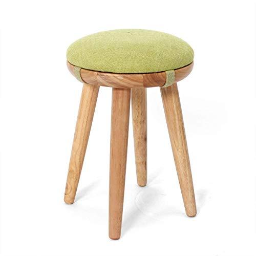 JIAXU Taburetes para silla de cocina, comedor, taburete redondo para cambio de zapatos, silla de madera retro, tocador, taburete de maquillaje con asiento de tela de lino