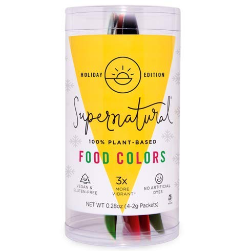 Red & Green Natural Food Coloring by Supernatural, Gluten-Free, Vegan, No Artificial Dyes for Healthy Baking (4 Packets)