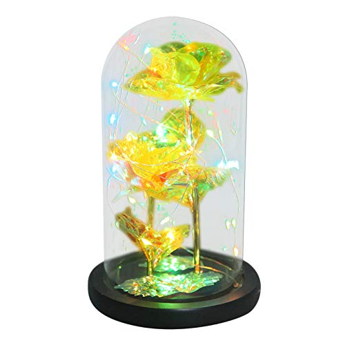 Artificial Galaxy Rose Flower with Fairy Led String Light in Dome Glass Cover for Valentine's Day Birthday Wedding Decorationwuayi Bear LED Colorful Gold Foil Rose Flower Glass Cover Ornament
