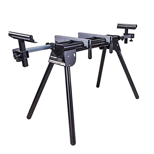 Evolution Power Tools 005-0001 Compact Folding Miter Saw Stand with Quick Release Mounting Brackets, Rollers, and End Stops, Black, Mire