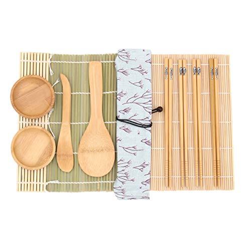 UPKOCH Kit de bambu para fazer sushi, com 11 peças, para iniciantes, com esteira para enrolar sushi, hashi, molheiras, colher, bolsa de tecido e espátulas