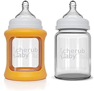 Cherub Baby Wide Neck Glass Bottles Twin Pack (150ml), Orange