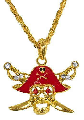 Körner - Halskette Pirat, mit Totenkopf und Säbel