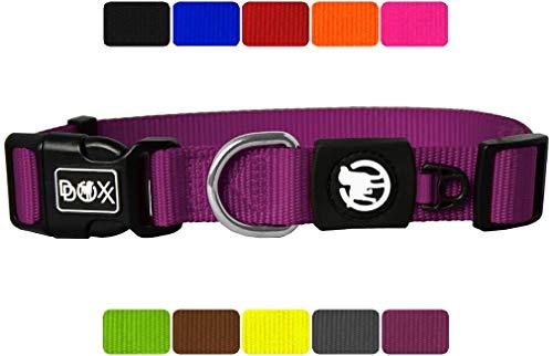 DDOXX Hundehalsband Nylon in vielen Farben & Größen für kleine & große Hunde | Halsband Hund Katze Welpe | Katzenhalsband klein | Hunde-Halsbänder breit Leuchtend | Lila, XS