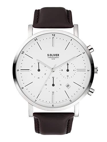 s.Oliver Herren Chronograph Quarz Armbanduhr mit Lederarmband SO-3856-LC