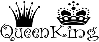 BooDecal 22 inches x 10 inches Queen King Black Lettering Art Front Male and Female Crowns Vinyl Wall Decals Removable Wall Decors Home Art Wall Stickers for Bedroom