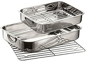 GSW 809351 ROESTVRIJ STAAL vierkante pan met inzetstuk 35 cm, zilver, 36,6 x 27,5 x 6,4 cm, 1 stuk