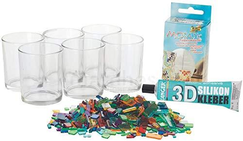 matches21 Kreativset Mosaik Windlichter Bastelset Komplettset für 6 Glas-Windlichter - Set zum selbst basteln