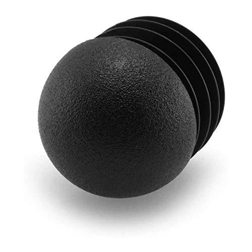 4 Stopfen mit Lamellen, für Zollrohre, runder Kopf, Kunststoff, Schwarz (1 1/2 Zoll)
