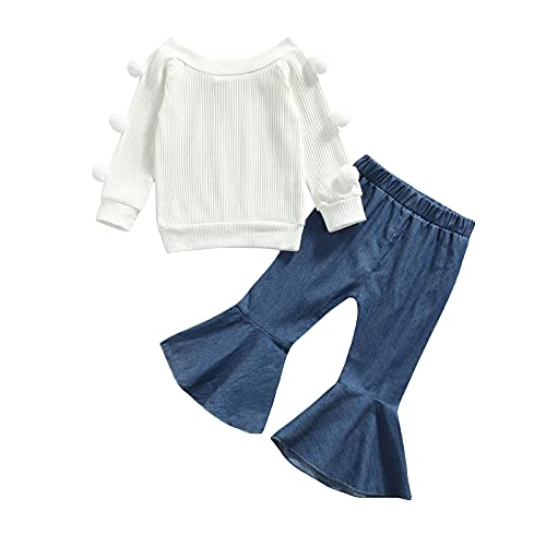 Toddler Baby Girl Fall Clothes Off Shoulder Ruffle Knitted Top Pullover+Floral Flare Pants Set 2Pcs Outfits (White, 9-12 Months)