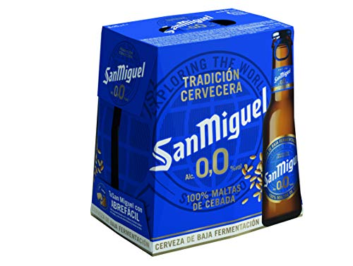 San Miguel 0.0 - Cerveza Pils Dorada sin Alcohol, 0% Volumen de Alcohol - Pack de 6 x 25 cl