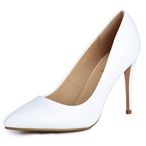 IDIFU Women's IN4 Classic Pointed Toe High Heels Pumps Wedding Dress Office Shoes (White PU, 5.5 B(M) US)