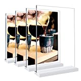 Acrylic Sign Holder, 4 Pack 8.5 × 11 inches Double-Sided Desktop Display Stand, Plastic Menu Display Stand, T-Shaped Sign Stand,Very Suitable for Homes Restaurants Offices Shops