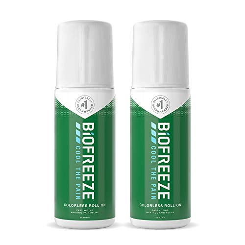 Biofreeze 13868 Pain Relief Roll-On, 3 oz. Colorless Roll-On, Fast Acting, Long Lasting, & Powerful Topical Pain Reliever, Pack of 2 (Packaging May Vary)