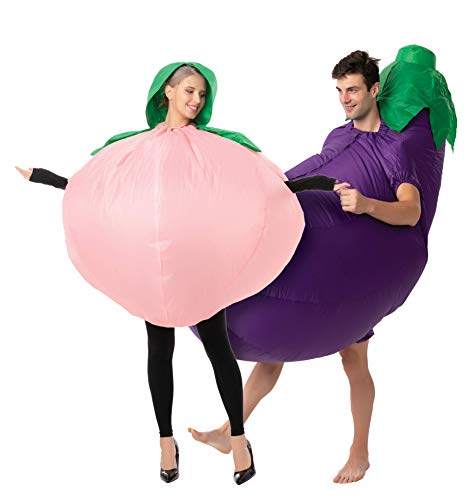 Spooktacular Creations Adult Peach and Eggplant Couple Inflatable Halloween Costume - Adult One Size