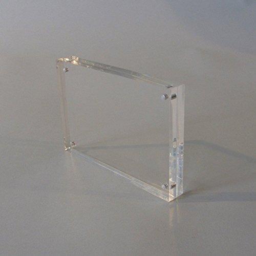 Plexidisplays Bilderrahmen Tisch Bilderhalter in A8 bis A4, Glasklar, Stabiler Halt, Acryl Fotorahmen mit Magnetverschluss (A5)