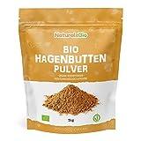 Hagebuttenpulver Bio 1kg. 100% Rohkostqualität, Natürlich und Rein aus ganzen Biologisch Hagebuttenbeeren gemahlen. Hagebutten Pulver reich an Vitamin C. NaturaleBio
