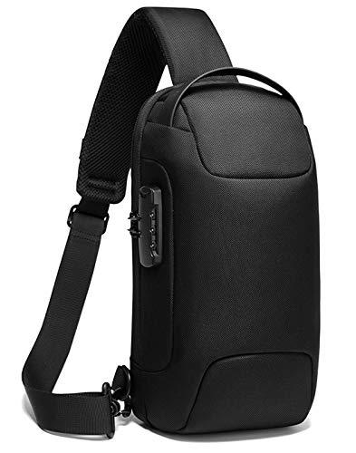 [TSHUO]ショルダーバッグ メンズ 斜めがけ ボディバッグ ワンショルダーバッグ 大容量 防水 盗難防止 USBポート付き iPad収納可能 通勤 (ブラック)