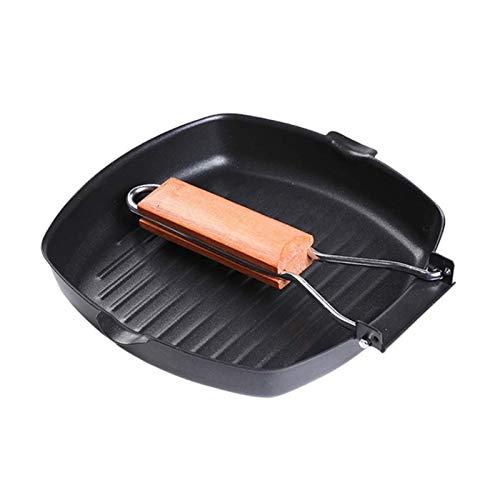 Sartén antiadherente para huevos Jamón Manija de madera Parrilla cuadrada plegable Pan Pan Portátil Fripar Pan wok (Sheet Size : 24 24cm)