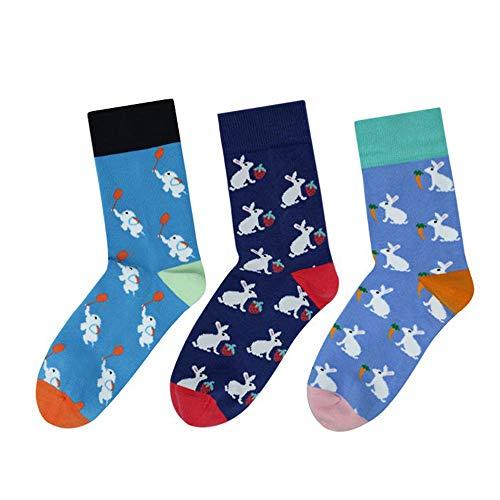 Calcetines cómodos para niños, diseño de conejo, de algodón suave, para invierno, 3 pares