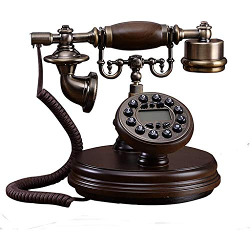 VERDELZ Teléfono Fijo Fijo Teléfono De Madera Digital Vintage Teléfono Fijo Retro Europeo con Identificador De Llamadas, Retroiluminado, Manos Libres, Auriculares Colgantes para El Hogar