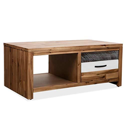 Zora Walter Table Basse en Bois d'acacia Massif Table d'appoint Table de Salon avec 1 tiroir et 1 Compartiment de Rangement