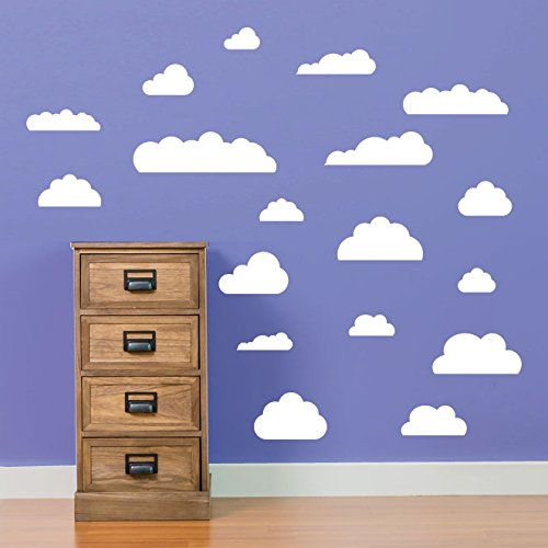 Cloud Stickers muraux pour enfants salle de jeux Chambre d'enfant Chambre à coucher les écoles fenêtre de décoration murale Stickers Décoration murale Stickers muraux Décoration murale Stickers muraux Stickers Autocollant mural Stickers panoramique Décor DIY Deco amovible Stickers muraux colorés stickers, Vinyle, 17 - White, Small Set 18
