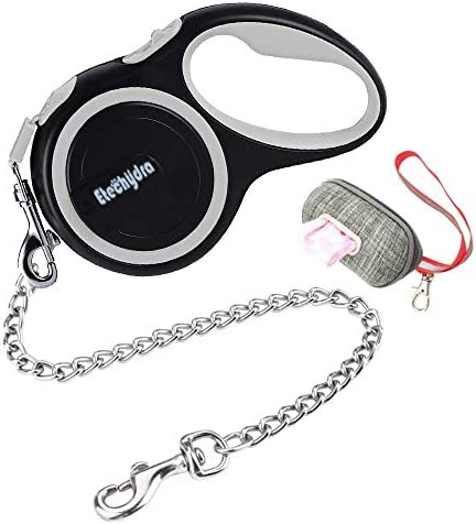 Etechydra Dog Retractable Leash Gray, Durable Dog Lead 5m / 16ft, Nylon Tape Pet Dog Lead, Dog Leash with Anti-Bite Dog Steel Chain Lead for Small Medium Dogs