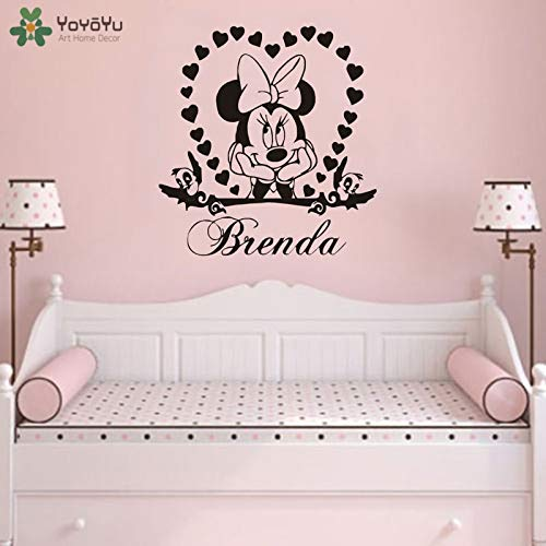 Fotobehang muis gepersonaliseerde meisjesnaam muursticker meisje slaapkamer leuke poster kunst woondecoratie 90x85cm