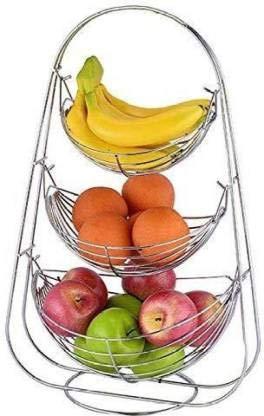Bhuvika - Cesta para frutas y verduras (acero inoxidable, 3 pisos), color plateado