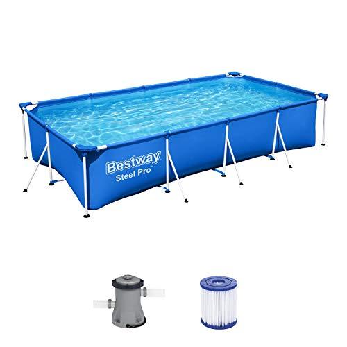 Bestway – Steel Pro – Piscine rectangulaire pour enfant – Avec cadre en acier et pompe filtrante Piscine pour enfant. 400 x 211 x 81 cm bleu