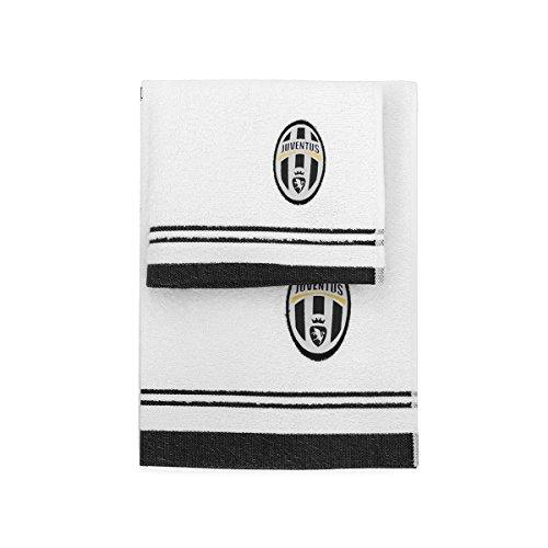 Juventus 8907 020 2130 Set Asciugamano e Ospite in Spugna, 100% Cotone, Bianco/Nero, 100x60x1 cm