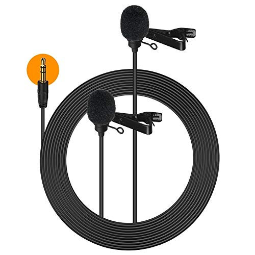 Comica Lavalier Mikrofon Doppelkopf, Dual Ansteckmikrofon 6m Omnidirectional Microphone mit Windschutz, 3.5mm TRS/TRRS für Smartphone iPhone Huawei Samsung, PC, Kamera DSLR Camcorder CVM-D02
