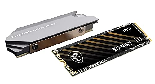 AX Bundle - MSI SPATIUM M470 PCIe 4.0 NVMe M.2 2280 1TB Internal SSD PCIe Gen4 NVMe 1.3 3D NAND 3300 TBW with Thermalright Heatsink Cooler M.2 2280 SSD Aluminum Heat Sinks Silicone Thermal Pad for PC