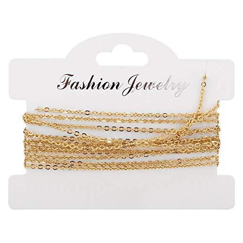 SFSD807 2M Cadenas de acero inoxidable Collar a granel Collar de hallazgos Componentes Oro / Color de oro rosa Cadena de enlace cruzada para la fabricación de joyería de bricolaje Búsqueda de joyas