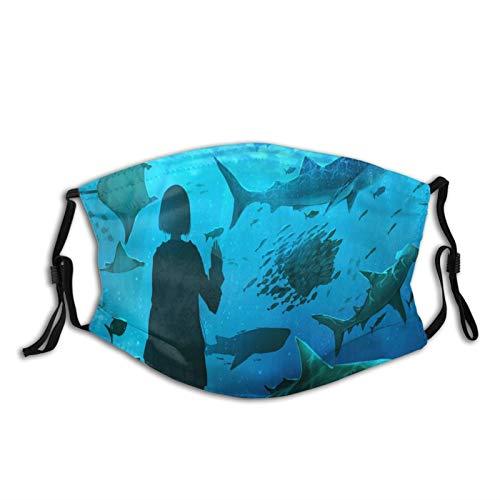 FULIYA Waschbare wiederverwendbare Mundbedeckung mit modischem Muster, atmungsaktiv, mit zwei Filtern, für Mädchen, Aquarium, Fisch, Unterwasserwelt, Kunst