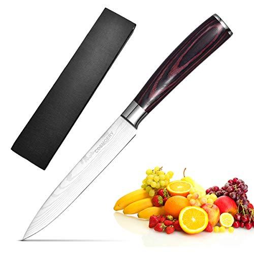 COSMOERY Allzweckmesser, Kochmesser Küchenmesser Gemüsemesser Obstmesser Schälmesser aus hochwertigem Carbon Edelstahl - 14 cm(5 inch)