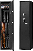 Biometric Rifle Gun Safe, Quick Access Fingerprint Long Gun Safe, 4 Gun Metal Rifle Gun Security Cabinet for Rifle with/Without Scope with Separate Pistol/Handgun Movable Shelf