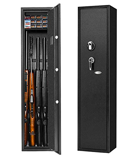Biometric Rifle Gun Safe, Quick Access Fingerprint Long Gun Safe, 4 Gun Metal Rifle Gun Security Cabinet for Rifle with/Without Scope with Separate Pistol/Handgun Movable Shelf