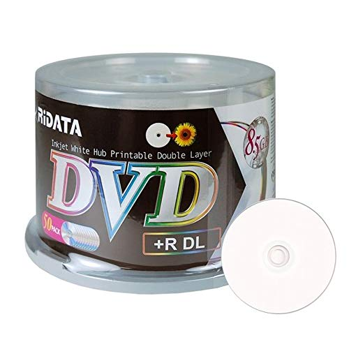 50 Pack Ridata DVD+R DL Dual Layer 8X 8.5GB DVD Plus R Double Layer White Inkjet Hub Printable Blank Media Data Movie Game Recordable Disc