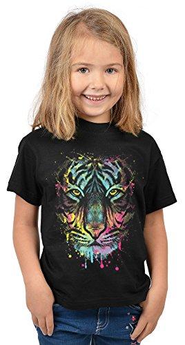 Tiger-Motiv Kindershirt - Kunstdruck Tiger - buntes Tigershirt für Kinder : Dripping Tiger - Tiermotiv Wildkatze Kinder T-Shirt Gr: L = 146-152